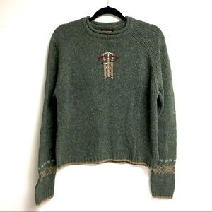 WOOLRICH Vintage Lambswool Sweater Sled Green M